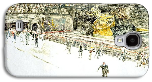 Printmaking Galaxy S4 Cases - Rockefeller Center Skaters Galaxy S4 Case by Anthony Butera