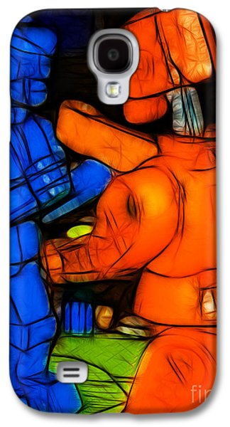 Boxer Galaxy S4 Cases - Rockem Sockem Robots - Color Sketch Style - version 3 Galaxy S4 Case by Wingsdomain Art and Photography
