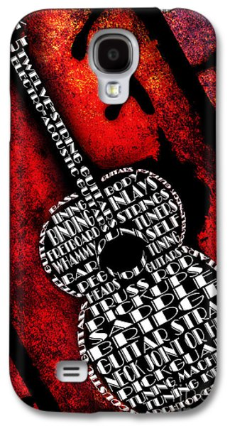 Component Mixed Media Galaxy S4 Cases - Rockin Guitar In Red Typography Galaxy S4 Case by Andee Design