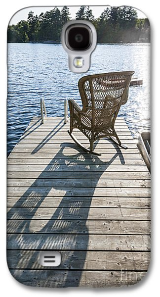 Rocking Chairs Galaxy S4 Cases - Rocking chair on dock Galaxy S4 Case by Elena Elisseeva