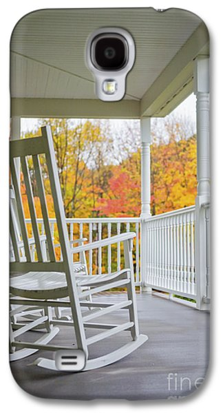 Rocking Chairs Galaxy S4 Cases - Rocking chairs on a porch in Autumn Galaxy S4 Case by Diane Diederich