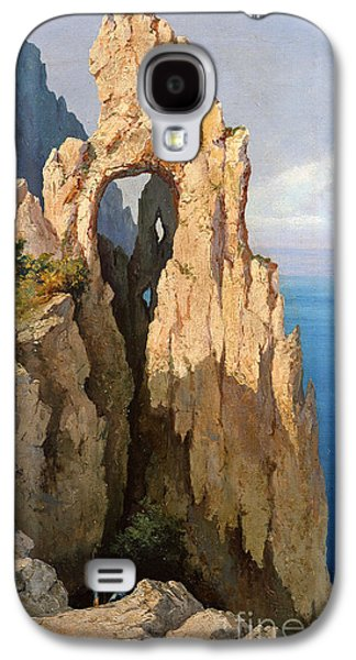 Italian Photographs Galaxy S4 Cases - Rocks At Capri Oil On Canvas Galaxy S4 Case by Louis Eugene Gabriel Isabey
