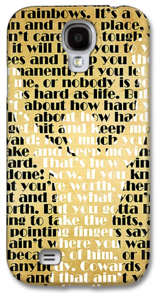 World Galaxy S4 Cases - Rocky Balboa Quote Poster Galaxy S4 Case by Pete Baldwin