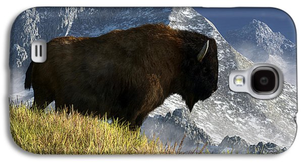 Bison Digital Art Galaxy S4 Cases - Rocky Mountain Buffalo Galaxy S4 Case by Daniel Eskridge