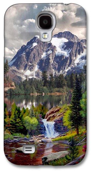 Kinkade Galaxy S4 Cases - Rocky Mountain Cascade Galaxy S4 Case by Ronald Chambers