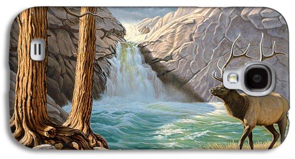 Waterfalls Paintings Galaxy S4 Cases - Rocky Mountain Elk Galaxy S4 Case by Paul Krapf