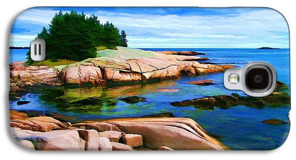 Coastal Maine Galaxy S4 Cases - Rocky Point at Great Waas - Painterly Galaxy S4 Case by Bill Caldwell -        ABeautifulSky Photography