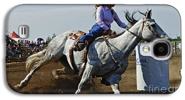 Sports Photographs Galaxy S4 Cases - Rodeo Barrel Racer Galaxy S4 Case by Bob Christopher