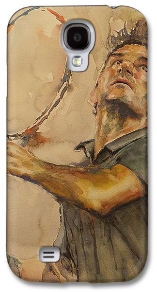 French Open Paintings Galaxy S4 Cases - Roger Federer - Portrait 1 Galaxy S4 Case by Baresh Kebar - Kibar