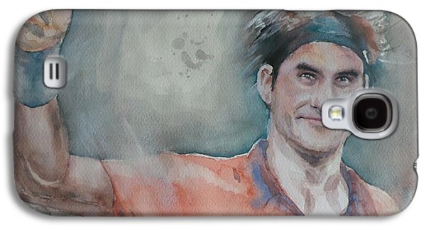 French Open Paintings Galaxy S4 Cases - Roger Federer - Portrait 4 Galaxy S4 Case by Baresh Kebar - Kibar