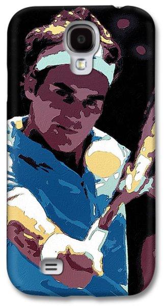 Roger Federer Portrait Art Galaxy S4 Case by Florian Rodarte