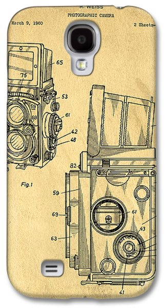 Studio Drawings Galaxy S4 Cases - Rolleiflex medium format twin lens reflex TLR patent Galaxy S4 Case by Edward Fielding