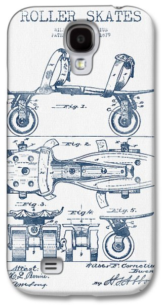 Antique Skates Galaxy S4 Cases - Roller Skate Patent Drawing from 1879  - Blue Ink Galaxy S4 Case by Aged Pixel