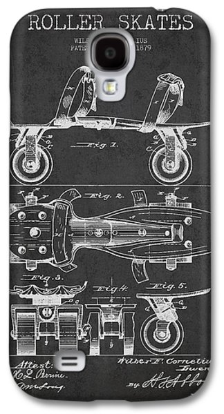 Antique Skates Galaxy S4 Cases - Roller Skate Patent Drawing from 1879 - Dark Galaxy S4 Case by Aged Pixel