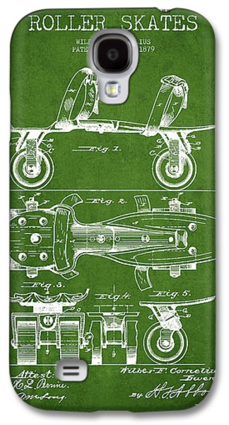 Antique Skates Galaxy S4 Cases - Roller Skate Patent Drawing from 1879 - Green Galaxy S4 Case by Aged Pixel