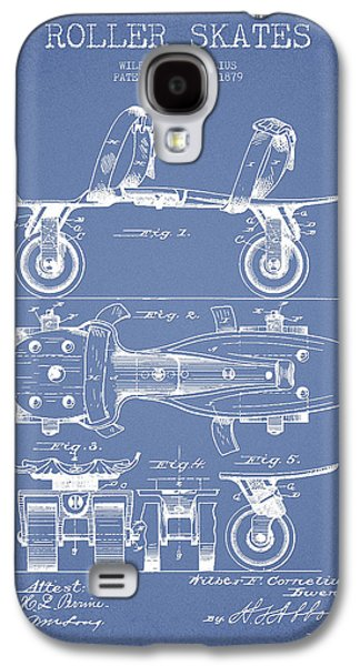 Antique Skates Galaxy S4 Cases - Roller Skate Patent Drawing from 1879 - Light Blue Galaxy S4 Case by Aged Pixel