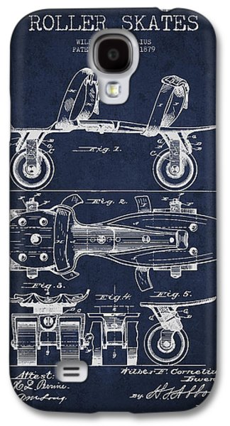 Antique Skates Galaxy S4 Cases - Roller Skate Patent Drawing from 1879 - Navy Blue Galaxy S4 Case by Aged Pixel