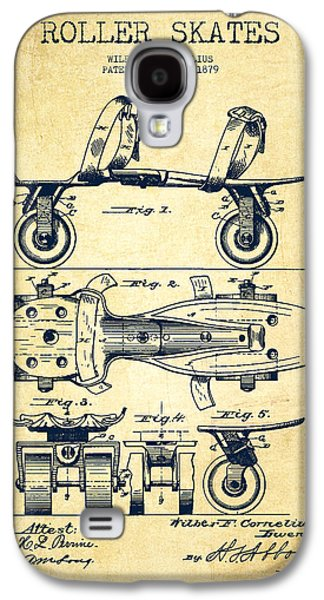 Antique Skates Galaxy S4 Cases - Roller Skate Patent Drawing from 1879 - Vintage Galaxy S4 Case by Aged Pixel