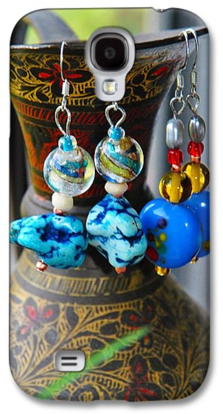 Silver Turquoise Jewelry Galaxy S4 Cases - Roman Inspired Earrings  Galaxy S4 Case by ARTography by Pamela  Smale Williams