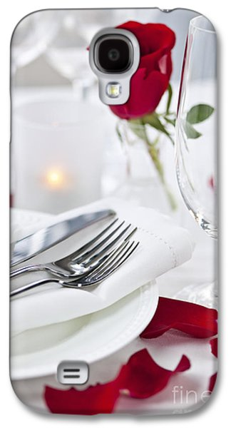 Roses Galaxy S4 Cases - Romantic dinner setting with rose petals Galaxy S4 Case by Elena Elisseeva