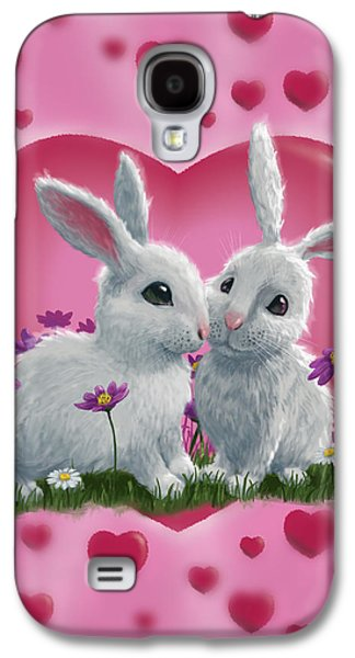 Rabbit Digital Galaxy S4 Cases - Romantic White Rabbits with Heart Galaxy S4 Case by Martin Davey