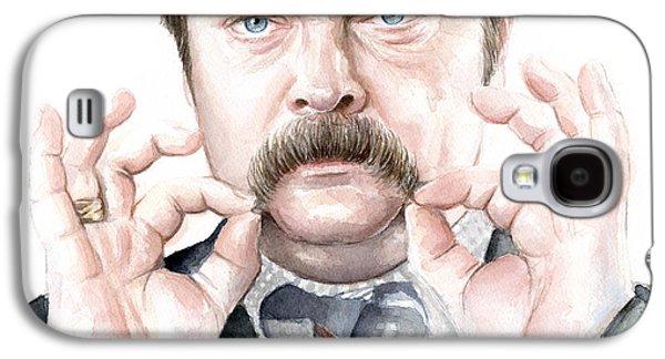 Mustache Galaxy S4 Cases - Ron Swanson Portrait Galaxy S4 Case by Olga Shvartsur