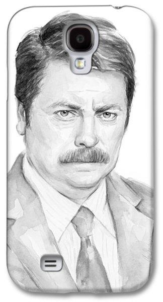 Fan Paintings Galaxy S4 Cases - Ron Swanson  Galaxy S4 Case by Olga Shvartsur