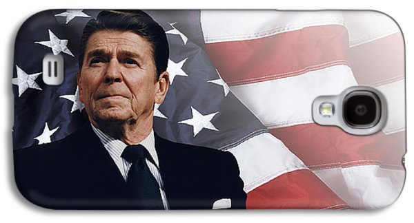 Founding Fathers Mixed Media Galaxy S4 Cases - Ronald Reagan - American Galaxy S4 Case by Daniel Hagerman