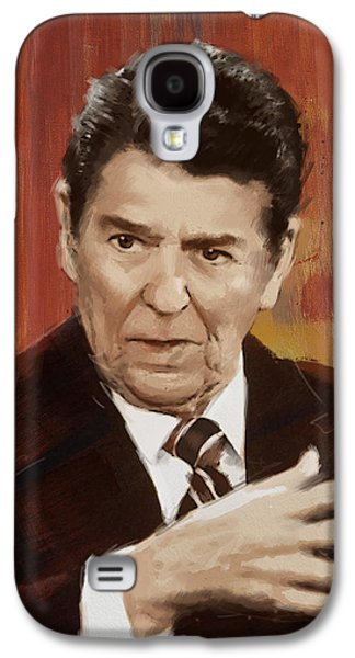 Reagan Galaxy S4 Cases - Ronald Reagan Portrait 2 Galaxy S4 Case by Corporate Art Task Force