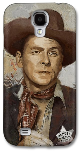 Reagan Galaxy S4 Cases - Ronald Reagan Portrait 4 Galaxy S4 Case by Corporate Art Task Force