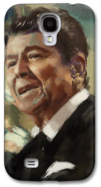 Reagan Galaxy S4 Cases - Ronald Reagan Portrait 5 Galaxy S4 Case by Corporate Art Task Force