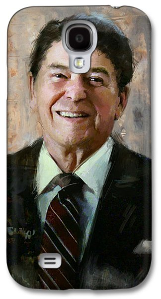 Reagan Galaxy S4 Cases - Ronald Reagan Portrait 7 Galaxy S4 Case by Corporate Art Task Force