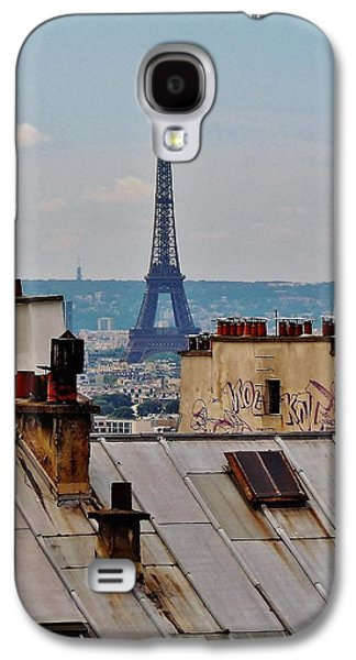 Chimneys Galaxy S4 Cases - Rooftops of Paris and Eiffel Tower Galaxy S4 Case by Marilyn Dunlap