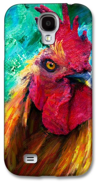 Abstract Digital Mixed Media Galaxy S4 Cases - Rooster Colorful Expressions Galaxy S4 Case by Georgiana Romanovna