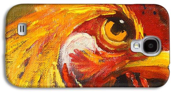 Yellow Beak Paintings Galaxy S4 Cases - Rooster Eye Galaxy S4 Case by Nancy Merkle