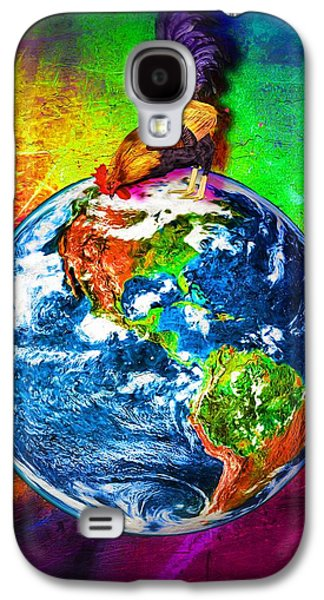 Macrocosm Paintings Galaxy S4 Cases - Rooster Planet Earth Galaxy S4 Case by Daniel Janda