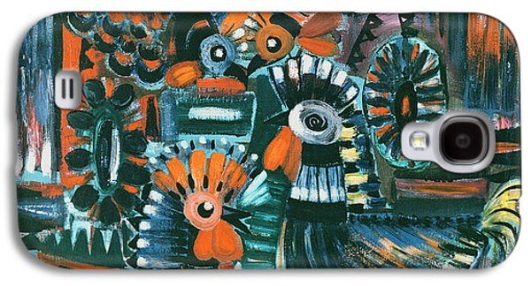 Folk Art Photographs Galaxy S4 Cases - Roosters, 1967 Oil On Canvas Galaxy S4 Case by Radi Nedelchev
