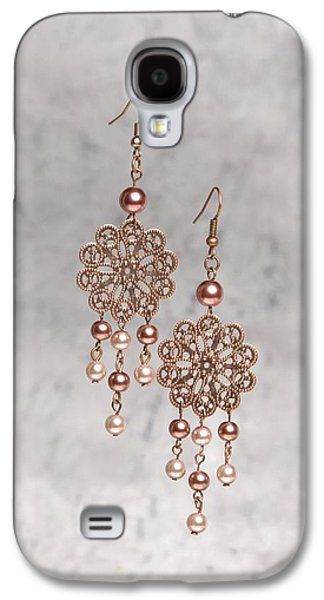 Flower Jewelry Galaxy S4 Cases - Rose Filigree Flower and Pearl Earrings Galaxy S4 Case by Kimberly Johnson