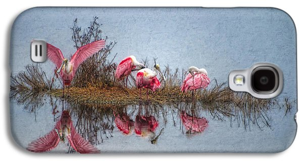 Abstract Digital Art Galaxy S4 Cases - Roseate Spoonbills at Rest Galaxy S4 Case by Lianne Schneider