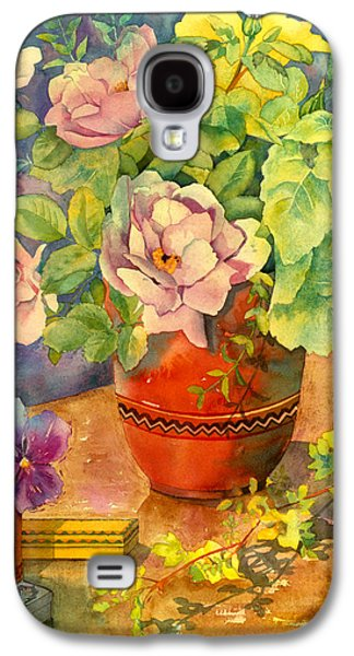 """indoor"" Still Life Photographs Galaxy S4 Cases - Roses And Pansies Galaxy S4 Case by Julia Rowntree"