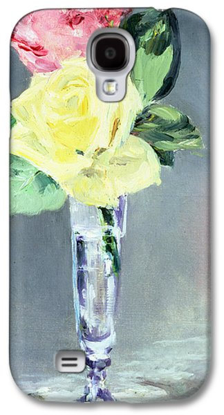 Champagne Paintings Galaxy S4 Cases - Roses in a Champagne Glass Galaxy S4 Case by Edouard Manet
