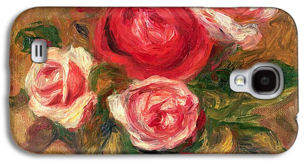 Blossoms Galaxy S4 Cases - Roses in a Pot Galaxy S4 Case by Pierre Auguste Renoir
