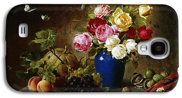 Ledge Galaxy S4 Cases - Roses in a Vase Peaches Nuts and a Melon on a Marbled Ledge Galaxy S4 Case by Olaf August Hermansen