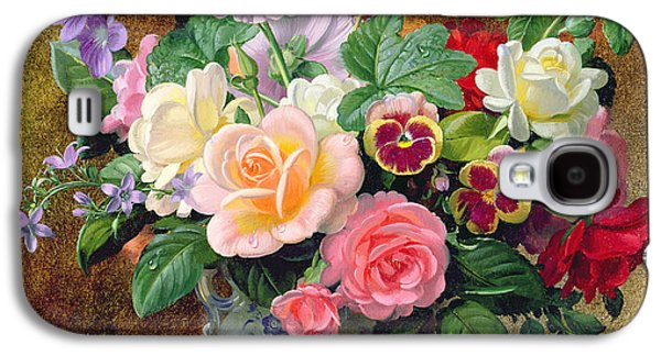 Roses Pansies And Other Flowers In A Vase Galaxy S4 Case by Albert Williams
