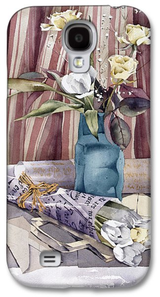 Indoor Still Life Galaxy S4 Cases - Roses Tulips And Striped Curtains Galaxy S4 Case by Julia Rowntree