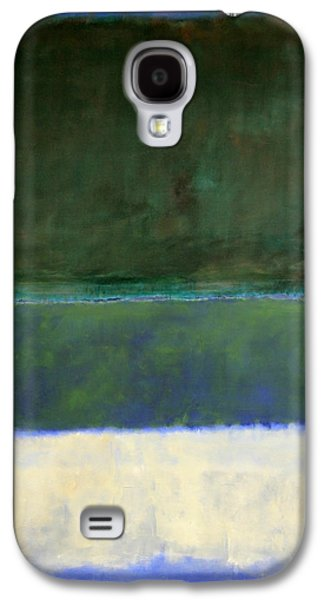 Cora Wandel Galaxy S4 Cases - Rothkos No. 14 -- White And Greens In Blue Galaxy S4 Case by Cora Wandel
