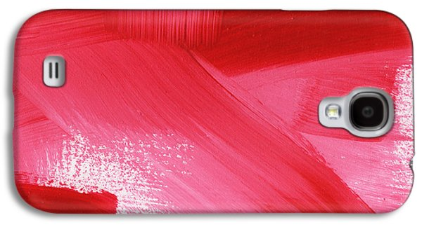 Red Mixed Media Galaxy S4 Cases - Rouge 2- horizontal abstract painting Galaxy S4 Case by Linda Woods