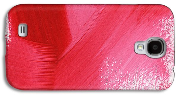 Red Mixed Media Galaxy S4 Cases - Rouge- vertical abstract painting Galaxy S4 Case by Linda Woods