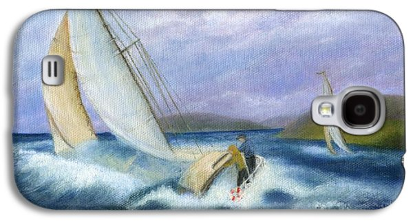 Catherine White Paintings Galaxy S4 Cases - Rough Water Sailing Galaxy S4 Case by Catherine Howard