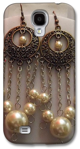 Round Jewelry Galaxy S4 Cases - Round Brass Filigree Pearl Silver Chandelier Earrings  Galaxy S4 Case by Kimberly Johnson